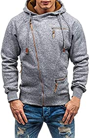 Pervobs Men's Autumn Fashion Long Sleeve Zipper Pockets Hooded Sweatshirt Hoo