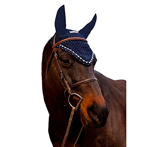 Used, Equine Couture Fly Bonnet with Crystals - Navy for sale  Delivered anywhere in USA
