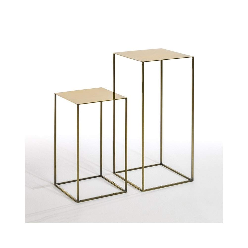 End Tables Metal Nordic Style Wrought Iron Coffee Table Creative Corner Rack, No Assembly Required 0702 (Color : Gold, Size : 30X30X54CM) by End Tables