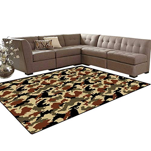 - Camouflage Room Home Bedroom Carpet Floor Mat Pixel Art Style Blending in Environment Pattern Abstract Fashion Design Door Mats Area Rug 6'6