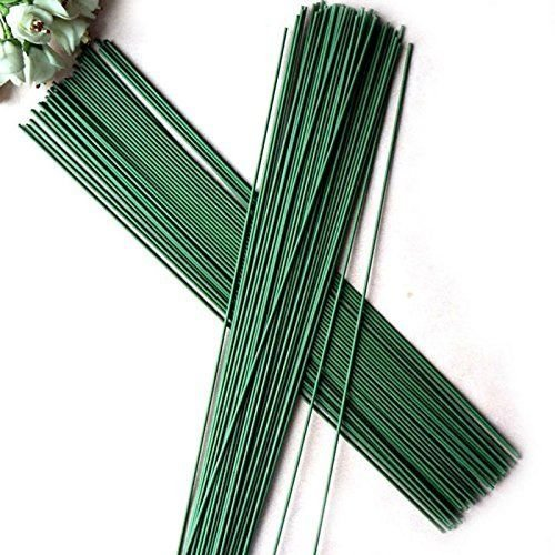 pankdream 60 PCS Green Floral Tape Iron Paper Wrapped Wire Artificial Flower Stub Stem for Arts and Crafts Projects,12'' - Iron 12' Stem