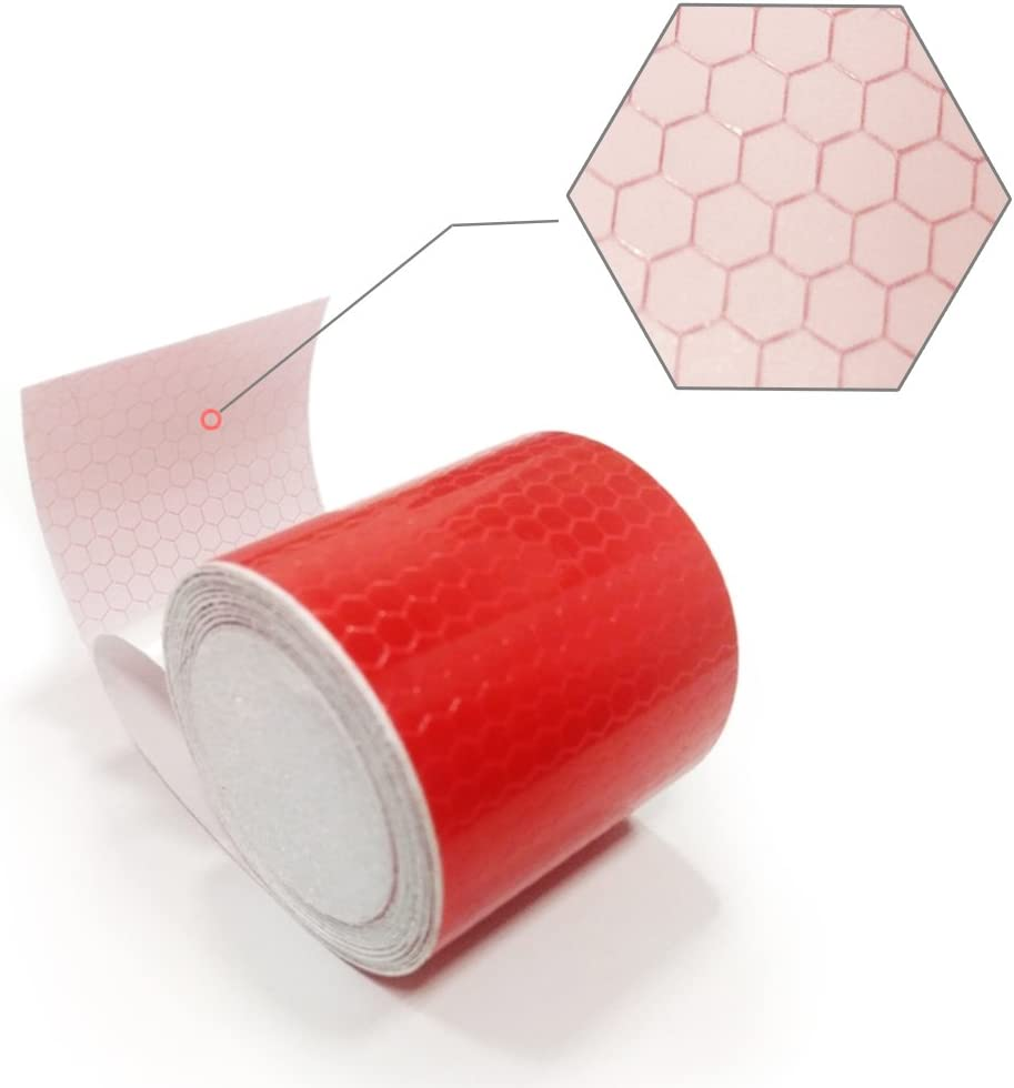 Maite Reflective Tape Self-Adhesive Safety Warning Conspic Uity Night Reflective Tape Film Sticker 2 Roll 5CM/×3M White