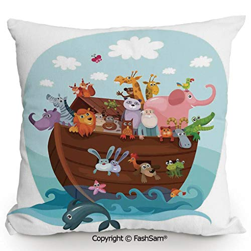 FashSam Decorative Throw Pillow Cover Two of Every Living in Noahs Ark Ancient Architecture Humorously Designed Print for Pillow Cover for Living Room(24