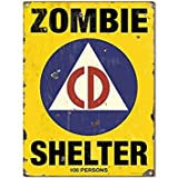Zombie Shelter Civil Defense Game Room Steel Sign 12 x 16