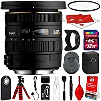 Sigma 10-20mm F3.5 EX DC HSM Lens for Sony A-Mount DSLR Cameras w/ 32gb Pro Photo and Travel Bundle