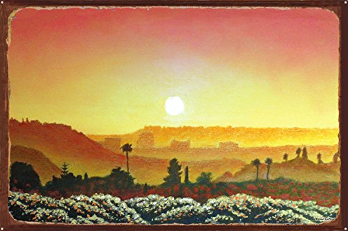 Mission Valley Sunset Rustic Metal Art Print by David Linton (24