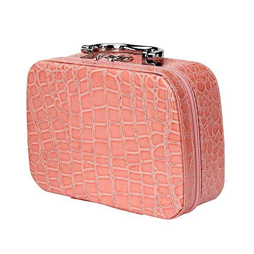 Farjing Fashion Makeup Storage Bag Case Jewelry Box Leather Travel Cosmetic Organizer(Pink)