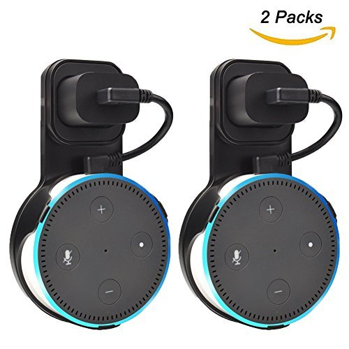 Outlet Wall Mount Hanger Holder Stand for Home Voice Assistants (2nd Generation Only) Without Mess Wires Or Screws, Plug in Study, Kitchen, Bedroom, Bathroom. (2pcs, Black)
