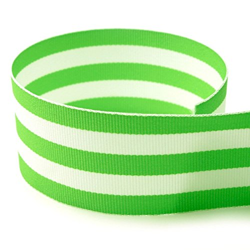"Yds Stripe Fabric (USA Made 1-1/2"" Lime Green & White Taffy Striped Grosgrain Ribbon - 50 Yards - (Multiple Widths & Yardages Available))"