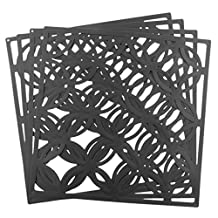 MonkeyJack 4 pieces Folding Screen Room Divider Hanging Screens Wall Panel Hollow Partition - Black Coins