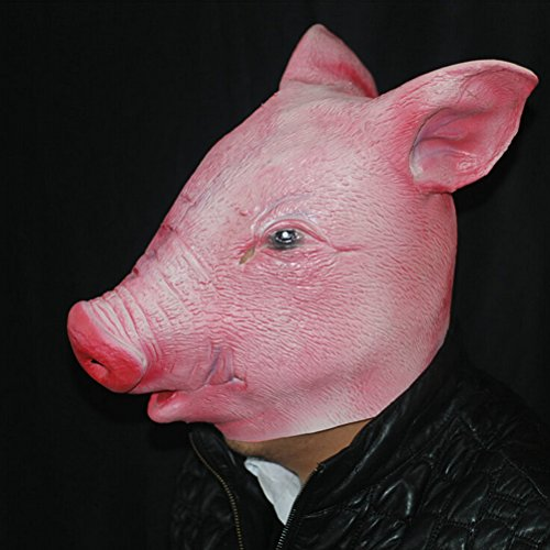 AOWA Funny Creepy Pig Head Mask Cosplay Animal Halloween Costume Comedy Theater Prop Party (Halloween Costumes Comedy)