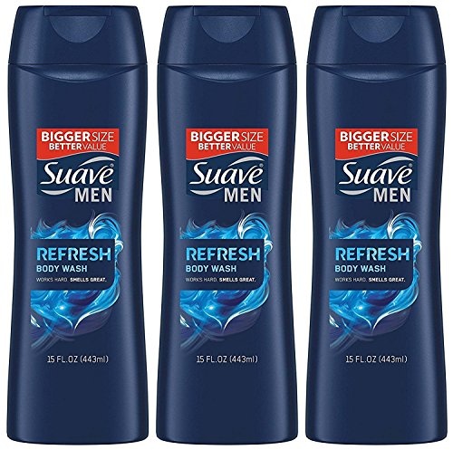 Suave Men Body Wash, Refresh, 15 Fl Ounce (Pack of 3)
