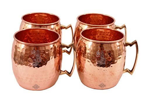 IndianArtVilla Pure Copper Hammered Moscow Mule Beer Mug | 18 oz Stylish Useful Mothers day Gift For Mom | with Brass Handle - ( Set Of 4 )