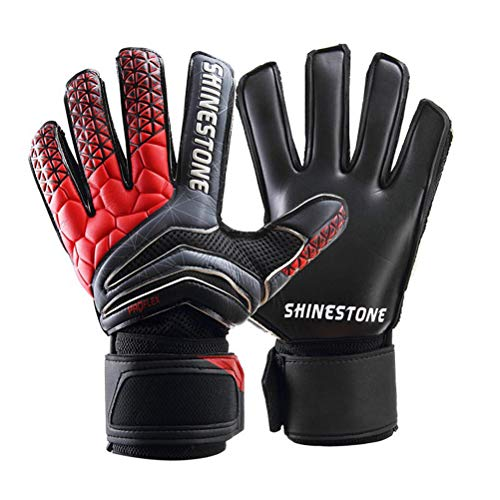 Jalunth Goalkeeper Goalie Gloves - Kids & Adults Football Goal Keeper Gloves with Finger Protection (Black, 5)