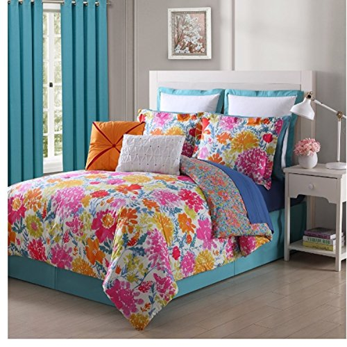 Bloom Bedskirt (4 Piece Floral Garden Pattern Comforter Set King Size, Featuring Bright Colorful Solid Reversible Design Bedding, Stylish Contemporary Chic Nature Bloom Girls Teens Bedroom Decor, Pink, Yellow, Multi)