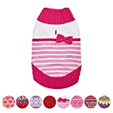 Blueberry Pet 8 Patterns Pinky Princess Designer Chenille Dog Sweater with Bow Decor, Back Length 16'', Pack of 1 Clothes for Dogs