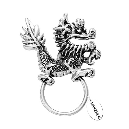Dragon Sunglasses Pin (MANZHEN Vintage Sliver Dragon Magnetic Eyeglass Holder Comfort Brooch for Shirt)