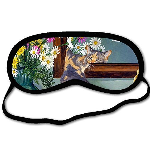 - Personalized Sleeping Mask With Cats Kitten Mirror Flowers - Comfortable Eye Mask Blindfold For Travel & Sleep