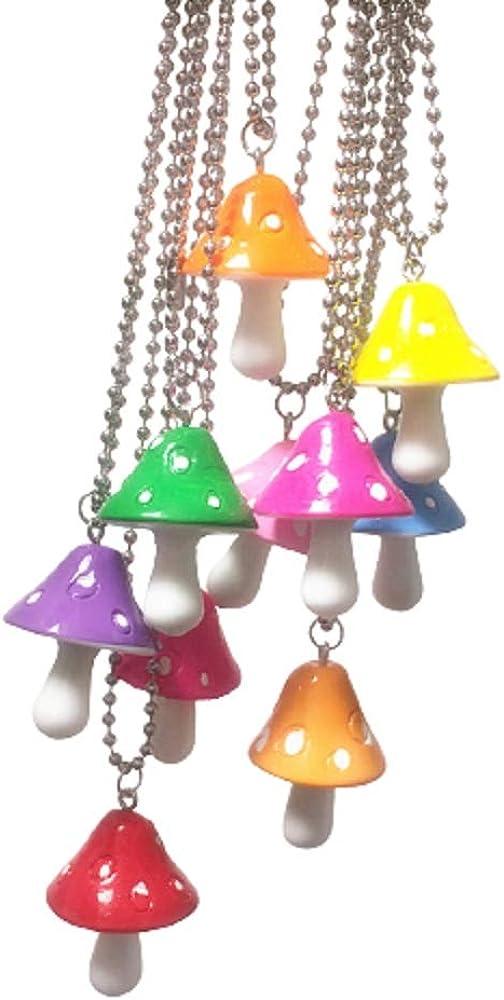 Cute Colorful Fresh Simulation Mushroom Dangling Necklace Handmade Gummy Mushroom Shape Pendant Necklace Rainbow Colored 3D Food Vegetables Jewelry for Women Men Girls