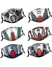 6Pcs Reusable Face Mask with Adjustable EarLoops, Men Women's Cosplay Bandana Balaclava, Unisex for Adult Teen