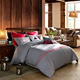 LOVO Relaxing Time 100% Cotton 2-Piece Bedding Set Duvet Cover Sham Twin Grey