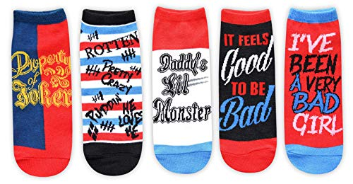 Hyp Harley Quinn Daddy's Lil Monster Quotes Juniors/Womens 5 Pack Ankle Socks Size 4-10 -