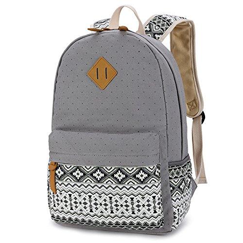 Ruiying Backpack Mochilas Escolares Mujer Mochila Escolar Lona Grande Bolsa Estilo Étnico Vendimia Lunares Casual Colegio Bolso Para Chicas Gris