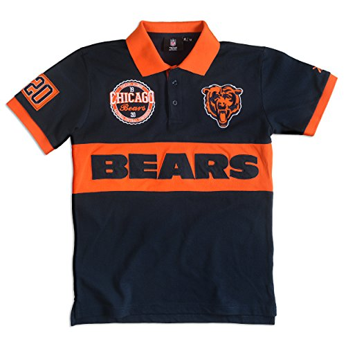KLEW NFL Chicago Bears Men's Cotton Wordmark Short Sleeve Polo Shirt, Blue, XX-Large