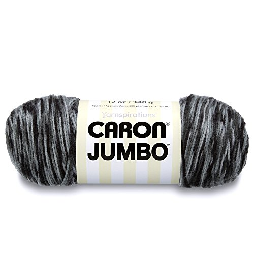 Caron Jumbo Ombre Yarn - Medium Worsted Gauge 4 thickness of the yarn -100% Acrylic- - 12 oz - Dalmatian - Machine Wash & Dry by Caron