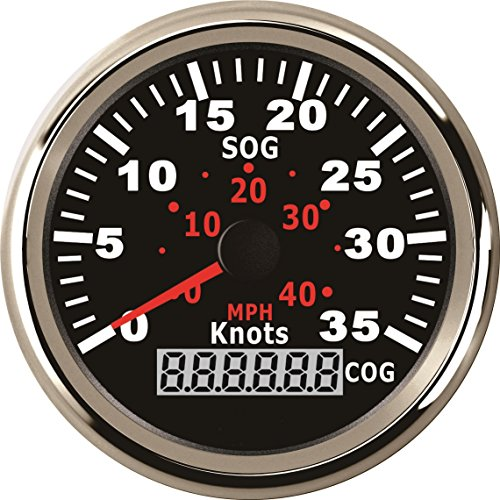 ELING GPS Speedometer 0-35Knots 0-40MPH Speed Gauge For Boat Yacht Vessels With Backlight 3-3/8'' (85mm) 12V/24V
