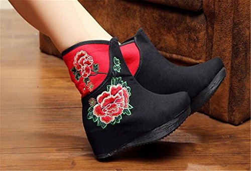 Embroidered Black shoes Chinese wind singles Elevator Shoes women's Boots boots Tall national PRdRq8w