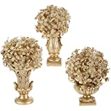 Set of 3 Champagne Gold Christmas Topiaries