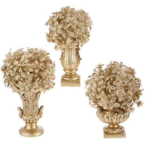 Set of 3 Champagne Gold Christmas Topiaries by RAZ Imports