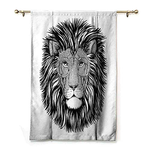 Portrait Thick Glass 0.25 - Children's Room Roman Curtain Indie Wild Hipster Lion with Glasses Wise Big Cat Clever Intelligent Animal Portrait Bedroom Balcony Living Room W48 xL64 Black and White