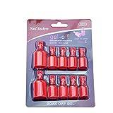 vinylux nail polish remover - 10 Pcs Nail Soaker Remover Clip, Acrylic Nail Art Soak Off Clips Caps UV Gel Nails Polish Remover Wrap Tool( Red )