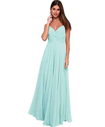 0b6632fb56 Women's Spaghetti Straps A Line Deep V-Neck Chiffon Bridesmaid Dress ...