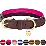Blueberry Pet 8 Colors Polyester Fabric and Soft Genuine Leather Webbing 3/4'' Wide Dog Collar in Hot Pink and Purple, Small, Neck 12''-15'', Adjustable Collars for Dogs