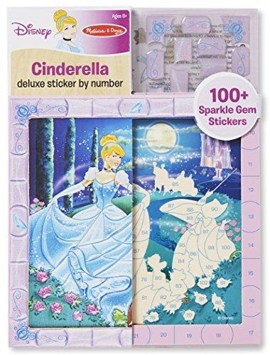 Melissa & Doug Disney Cinderella Deluxe Sticker by Number Activity Kit - 100+ Stickers, Wooden (Cinderella Stickers)