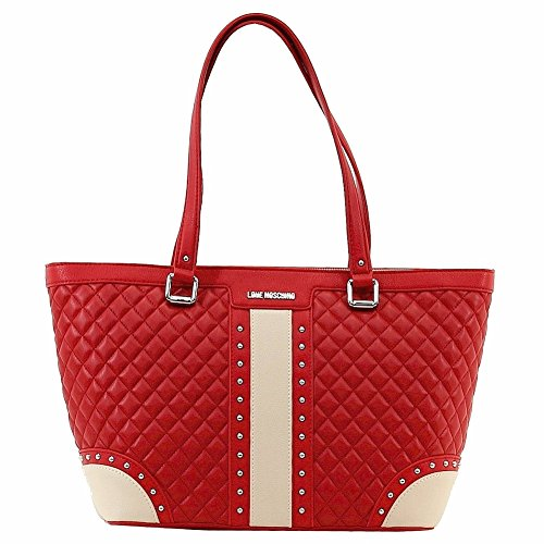Love Moschino Women's Red/Beige Quilted & Studded Tote Handbag