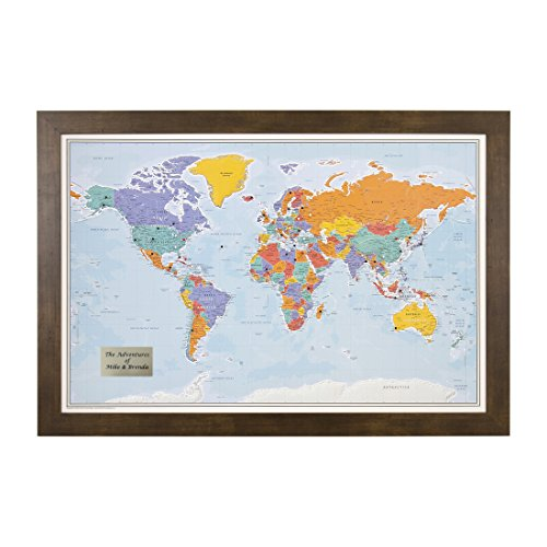 Personalized Push Pin World Travel Map with Rustic Brown Frame and Pins - Blue Oceans 24 x 36 - Personalized World Map With Pins
