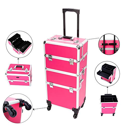 Mefeir 2-in-1 Rolling Makeup Train Case,4 Removable Travel Wheels w/Lockable Keys+Shoulder Strap,Aluminum Cosmetic Trolley Cart Beauty Artist Organizer,Ideal Xmas New Year Gift(Rose-Pink) ()