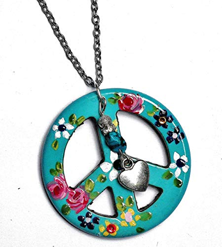 Colorful Long Hippie Peace Sign Pendant Necklace with Painted Flowers Turquoise Nugget Bead Boho Jewelry