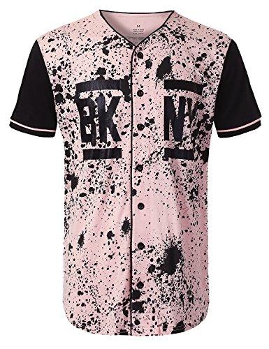 URBANCREWS Mens Hipster Hip Hop NY Splatter Baseball Jersey T-Shirt Pink, L