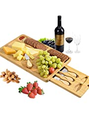 """Organic Bamboo Cheese Board and Knife Set for Kitchen, Serving Platter Cutlery and Tray & Hidden Cutlery Drawer, 3 Compartments and 4 Cheese Knife, Best Choice for Party Wedding (15.7"""" x 9.8"""" x 1.2"""")"""