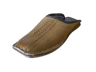 kalra Creaciones Hombres de Piel de Tradicional Indian Casual Zapatillas Zapatos, Color Marrón, Talla 41.5 EU