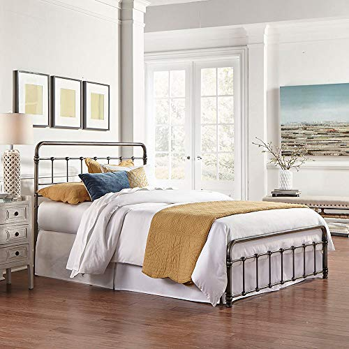 eLuxurySupply Metal Bed Frame - Vintage Style Weathered Nickel Finish Folding Bedframe - Easy Assembly with Headboard and Foot Board - Sturdy Steel Construction Bed Base - Queen Size ()