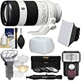 Sony Alpha E-Mount FE 70-200mm f/4.0 G OSS Zoom Lens Flash + Soft Box + Diffuser + 3 Filters Kit A7, A7R, A7S Mark II Cameras