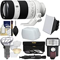 Sony Alpha E-Mount FE 70-200mm f/4.0 G OSS Zoom Lens with Flash + Soft Box + Diffuser + 3 Filters Kit for A7, A7R, A7S Mark II Cameras