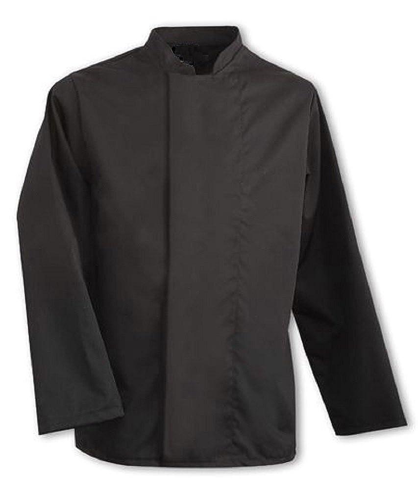 Giacca da cuoco, cappotto nero, bottoni nascosti, uniforme per catering, INS09