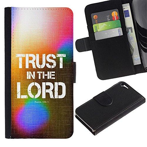 LASTONE PHONE CASE / Luxe Cuir Portefeuille Housse Fente pour Carte Coque Flip Étui de Protection pour Apple Iphone 5 / 5S / BIBLE Trust In The Lord - Psalm 125:1